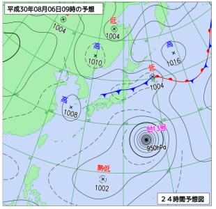 8月6日(月)9時の予想天気図