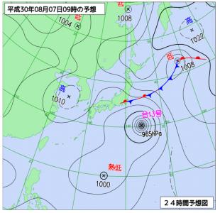 8月7日(火)9時の予想天気図