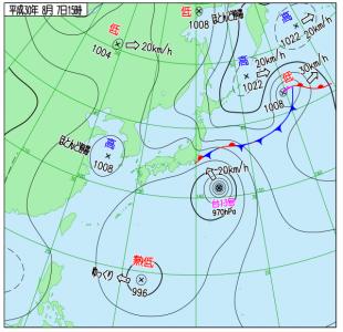 8月7日(火)15時の実況天気図