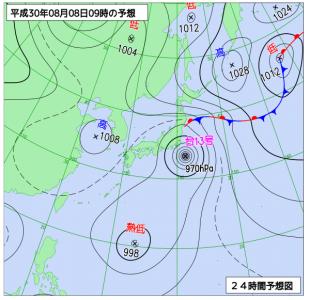 8月8日(水)9時の予想天気図