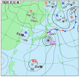 8月8日(水)9時の実況天気図