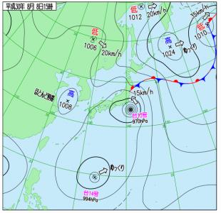 8月8日(水)15時の実況天気図