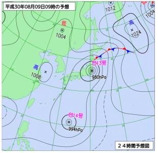 8月9日(木)9時の予想天気図