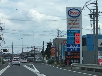 レギュラーレギュラーガソリン149円/L 西近江路沿い大津市真野のセルフGSで(18/07/12)