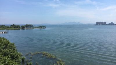 琵琶湖大橋西詰めから眺めた北湖(7月14日11時10分頃)
