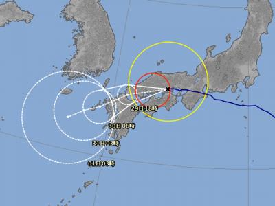 台風12号進路図(7月29日8時)