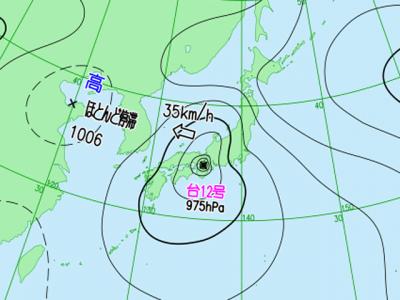 7月29日3時の実況天気図