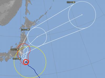 台風13号進路図(8月8日12時)