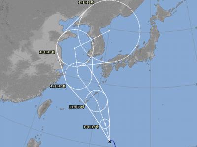 台風14号進路図(8月9日18時)