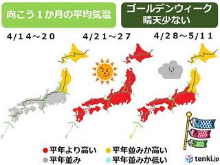 4月後半からゴールデンウィークにかけての天気傾向