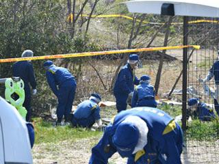 旧野洲川河川敷の死体遺棄現場での捜査