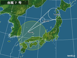 台風7号進路図(7月4日6時)