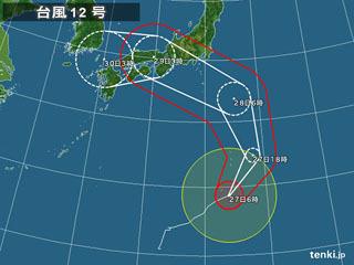 台風12号進路予想