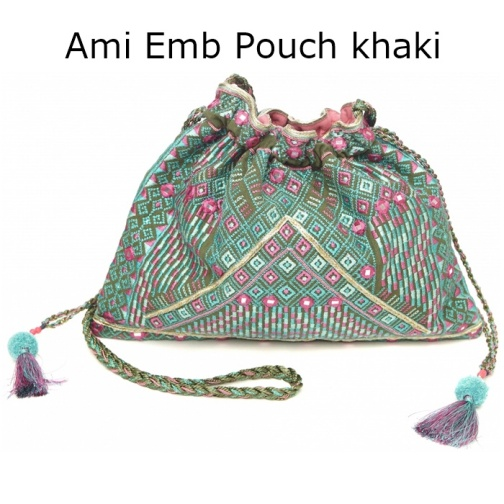 Ami Emb Pouch khaki1