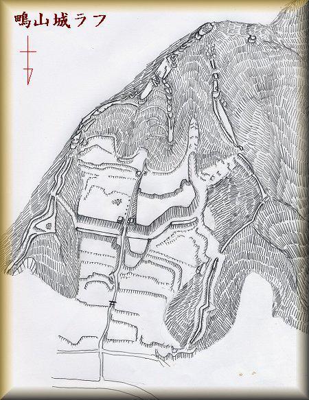 鴫山城址縄張り図