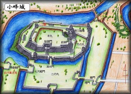 小峰城址縄張り図