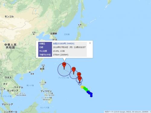 デジタル台風:台風進路予想図(Google Maps版) - 位置や勢力に関するリアルタイム台風速報と最新台風予報