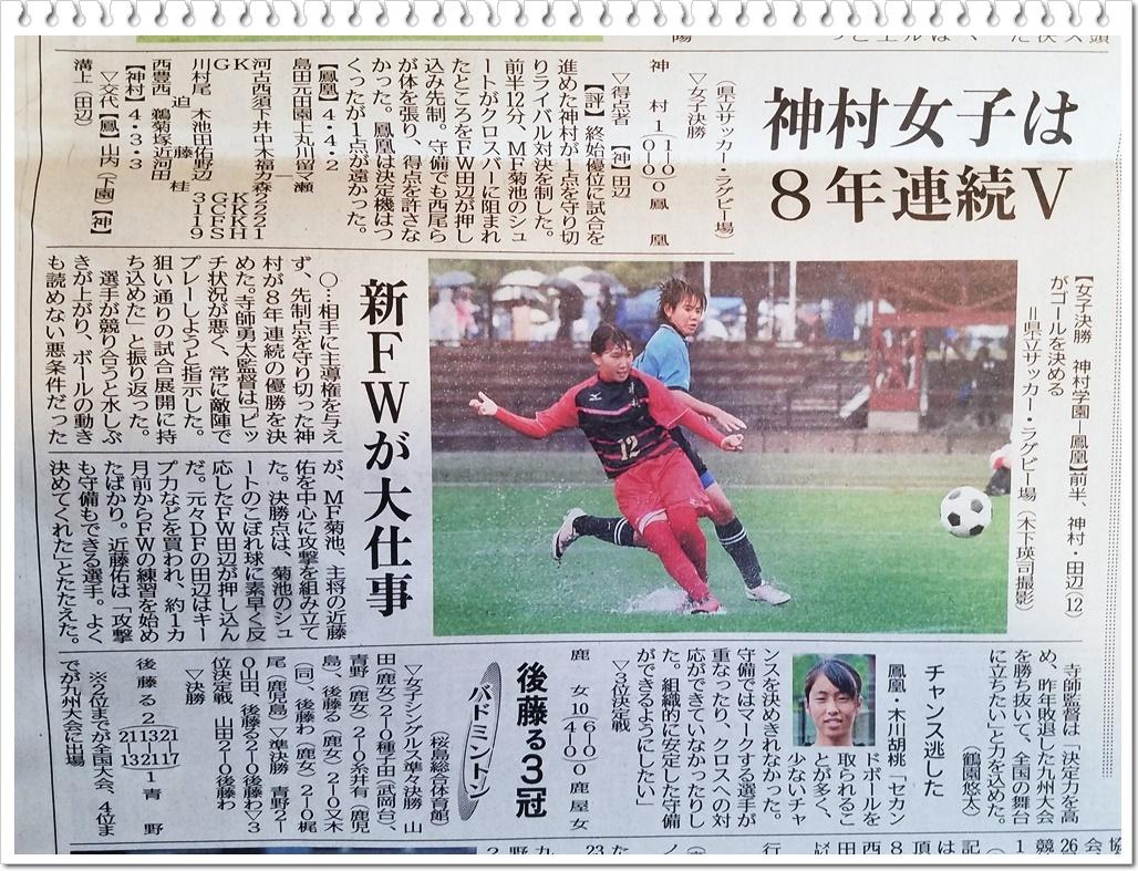 女子サッカー結果1-2