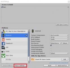 Unity Build Settings Player Settings