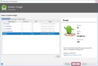 Virtual Device configuration System Image Nexts