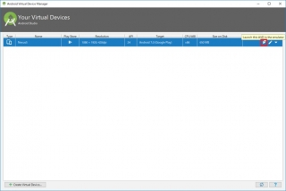 Android Virtual Device Manager Boot AVDs