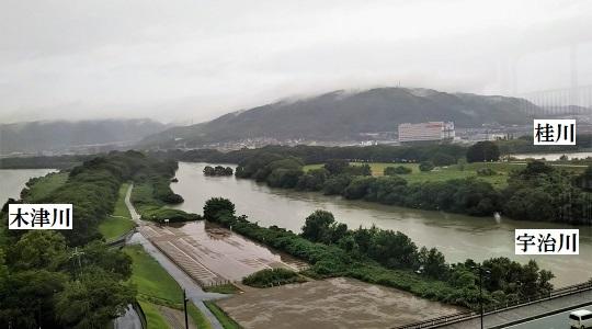 河川合流地点と背割り