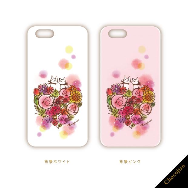 ねことお花。「おやゆびねこ」iPhoneケース/スマホカバー_ちょこじろー