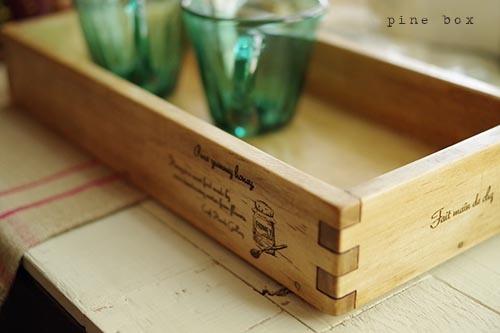 ハチミツ瓶とコーヒーミルデザインのヴィンテージ風木箱♪