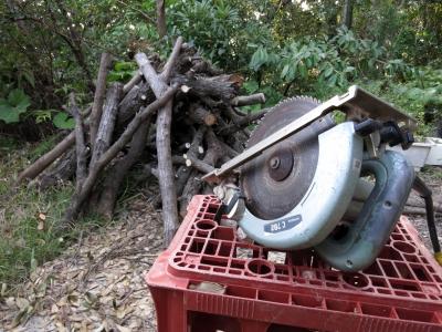 180403-65=椎茸栽培用榾木と丸ノコ a前庭