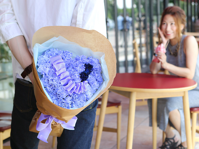 青 花束 バラ サプライズ プロポーズ ハート かわいい 配送