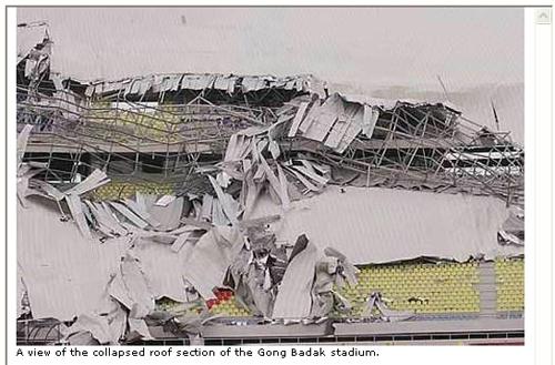 ▼2009年6月、韓国施工のマレーシア「サルタン・ミザン・ジャイナル・アビジン・スタジアム」の屋根が完工から僅か1年で崩壊!▼