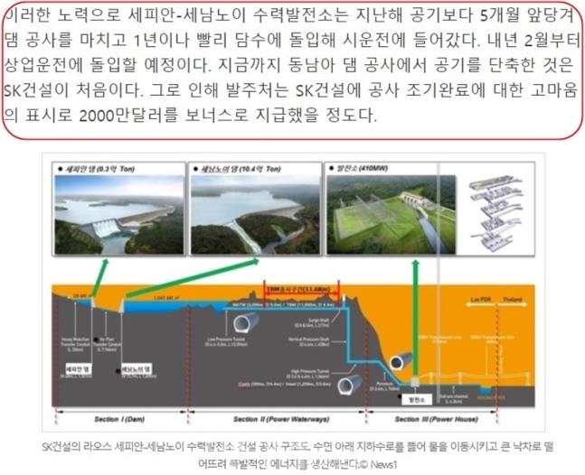 【ラオスのダム決壊】韓国SK建設が4か月の工期短縮でダムを完成させて2000万ドルのボーナスをゲットしていた!「SK建設がやり遂げた」というラオスのダムの記事が修正された