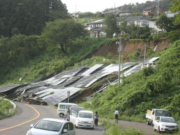 ソーラーパネル設置場所だけピンポイントで土砂崩れ!(2015年9月11日、仙台市)