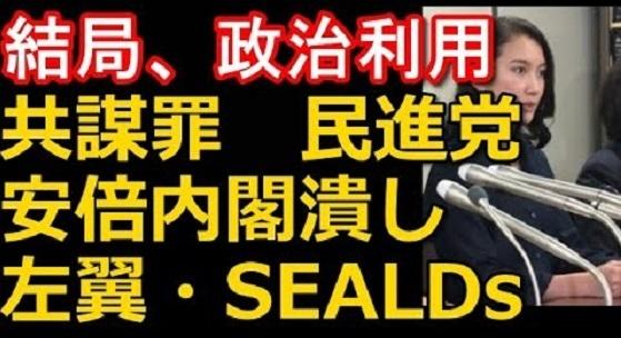 辛淑玉、元SEALDsの五寸釘ほなみ、しばき隊ら「共謀罪より刑法改正!詩織と共に戦う!」