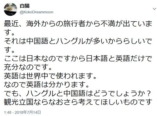 【悲報】欧米人「日本の街は、中国語とハングルが多すぎる!見にくくて仕方が無い!」