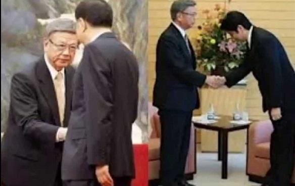 日本の総理大臣や官房長官が頭を下げても決して頭を下げない翁長雄志だが、支那人に対しては平身低頭、奴隷となる!