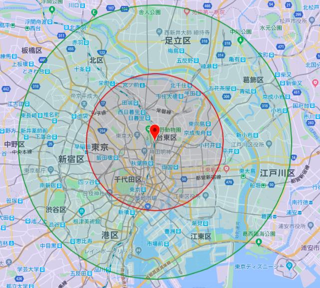 FH70射程距離東京5km10km20km