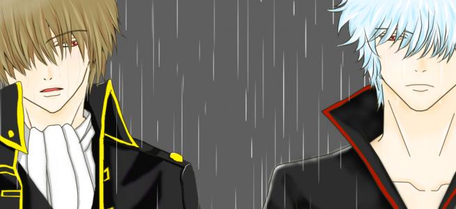 銀魂 銀さん 沖田さん 雨 花吹雪