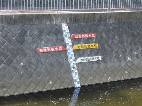 蓼川・上土棚新橋下流の水位表示