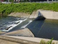 境川のゴム堰・俣野堰の堰上げ