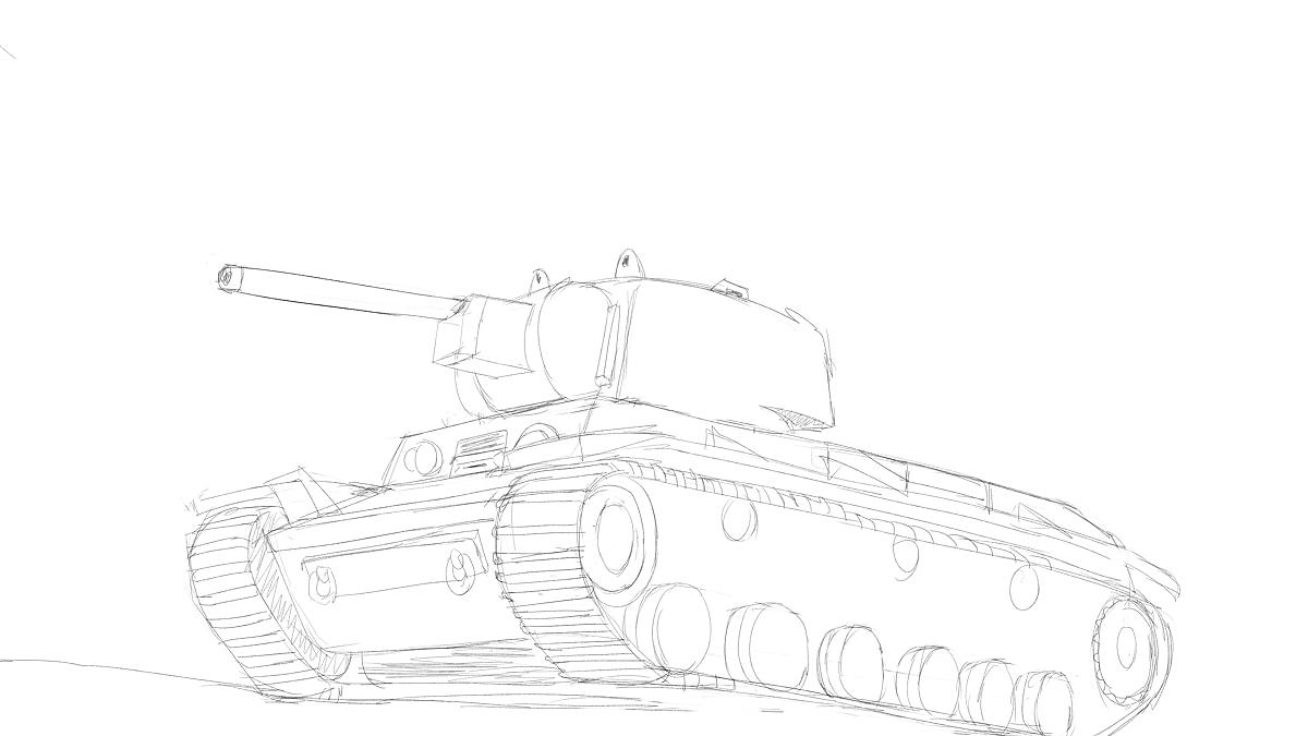 KV-1重戦車をイメージから描く