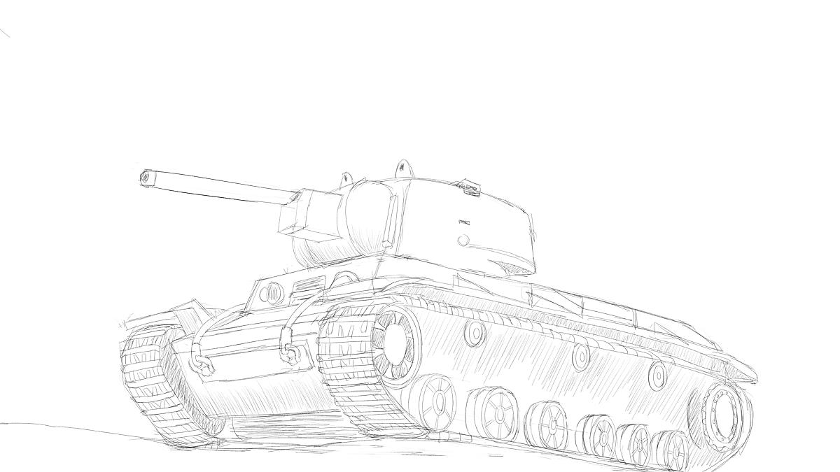 KV-1重戦車をイメージから描いた物を組み立てた模型を使い修正