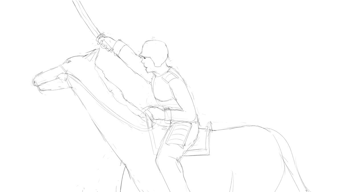 騎馬兵を描く
