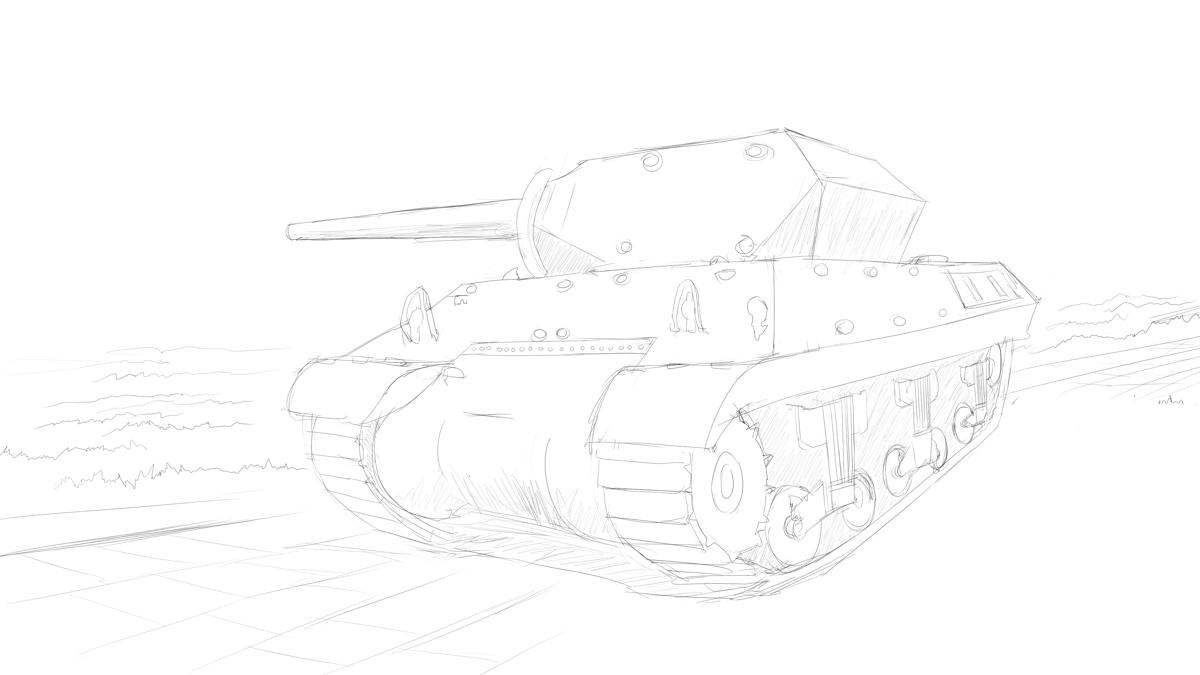 タミヤのMMシリーズの1/35のアメリカ M10 駆逐戦車(中期型)のスケッチを塗る