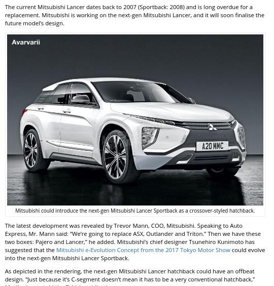 Next gen Mitsubishi Lancer design close to being finalised Report