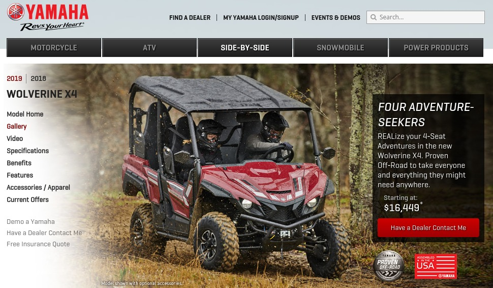 2019 Yamaha Wolverine X4 Recreation Side by Side Model Home