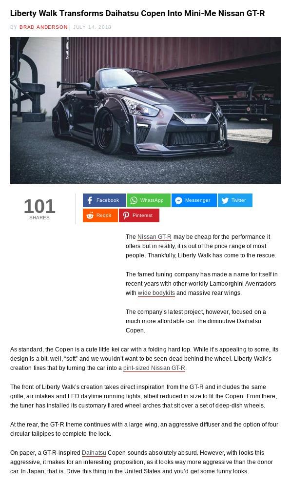 Liberty Walk Transforms Daihatsu Copen Into Mini Me Nissan GT R Carscoops