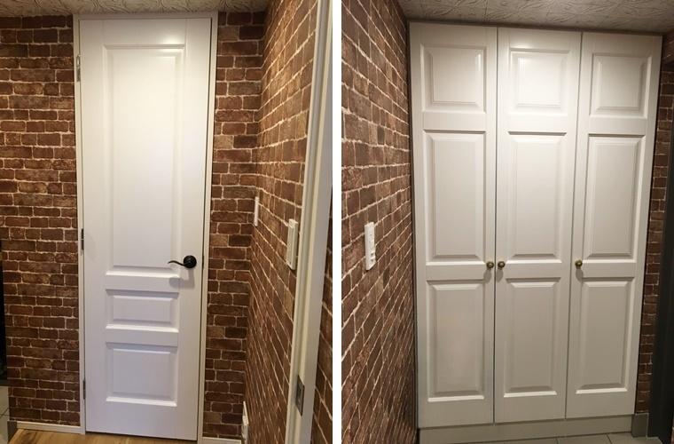 マンションリフォームの木製ドアと収納扉