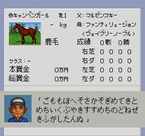 【ダービースタリオン96】再現キャンペンガール(競走馬)のパスワード