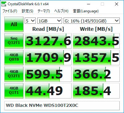 【CrystalDiskMark 6.0.1】WD Black NVMe WDS100T2X0C